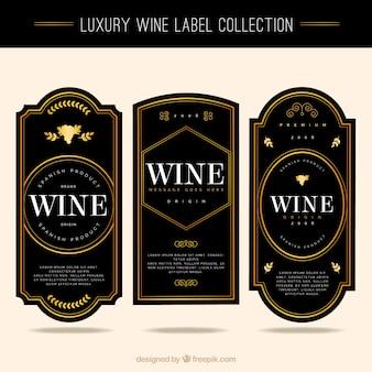 Coleção de etiquetas de vinho elegantes