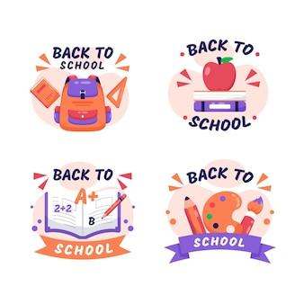 Coleção de etiquetas de volta à escola