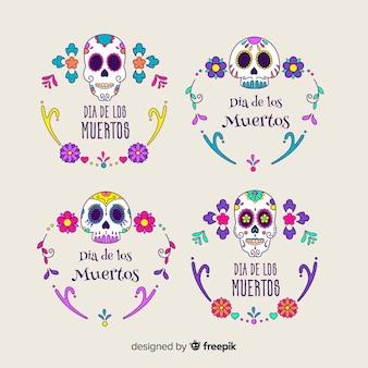 Coleção de etiquetas dia de muertos