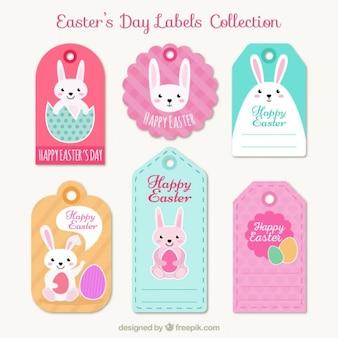 Coleção de etiquetas dia de páscoa bonito