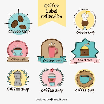 Coleção de etiquetas do café desenhados à mão