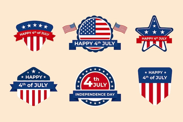 Coleção de etiquetas do dia da independência