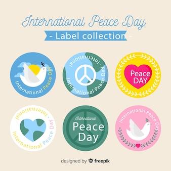 Coleção de etiquetas do dia da paz