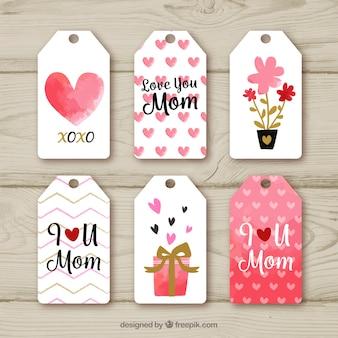 Coleção de etiquetas do dia das mães