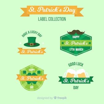 Coleção de etiquetas do dia de são patrício