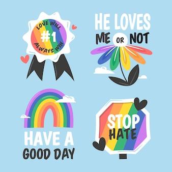 Coleção de etiquetas do dia do orgulho desenhada à mão