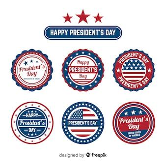 Coleção de etiquetas do dia do presidente feliz