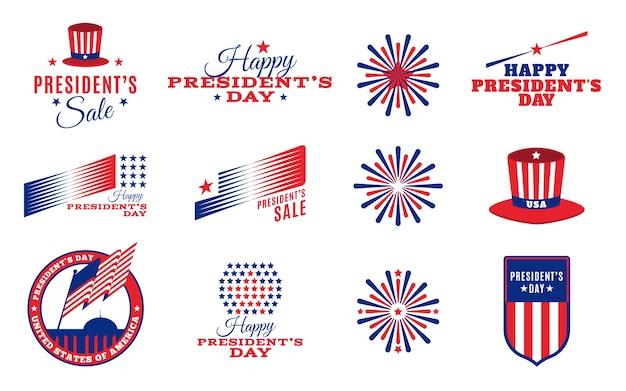 Coleção de etiquetas do dia do presidente