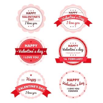 Coleção de etiquetas do dia dos namorados com design plano