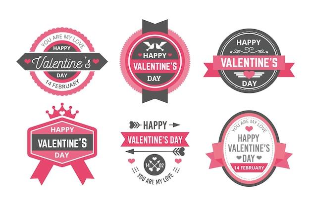 Coleção de etiquetas do dia dos namorados em design plano
