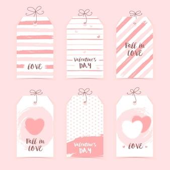 Coleção de etiquetas do dia dos namorados isoladas em cinza
