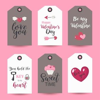 Coleção de etiquetas do dia dos namorados. modelos de cartões para impressão.