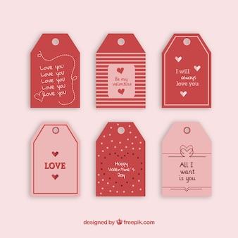 Coleção de etiquetas do dia dos namorados