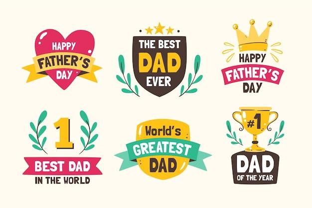 Coleção de etiquetas do dia dos pais desenhada à mão