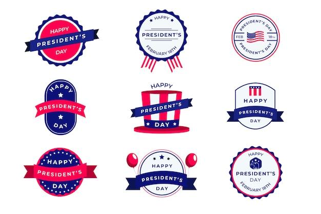 Coleção de etiquetas do dia dos presidentes