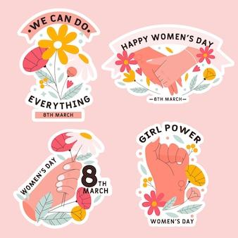Coleção de etiquetas do dia internacional da mulher desenhada à mão