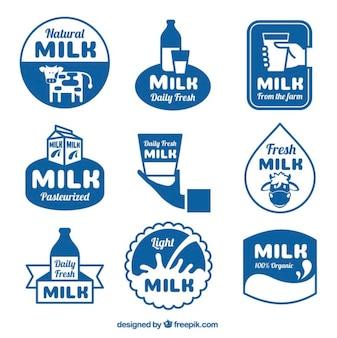 Coleção de etiquetas do leite