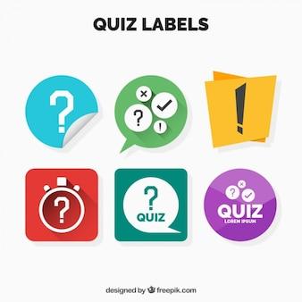 Coleção de etiquetas do quiz