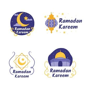 Coleção de etiquetas do ramadã desenhada à mão