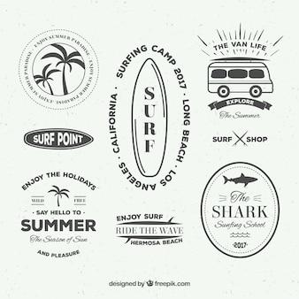 Coleção de etiquetas do surf do vintage