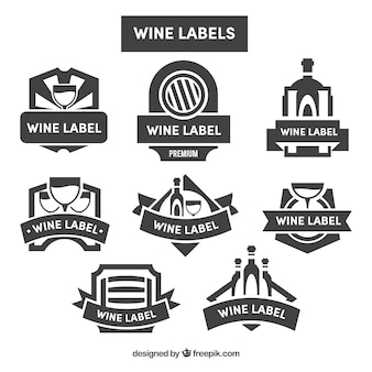 Coleção de etiquetas do vinho no estilo retro