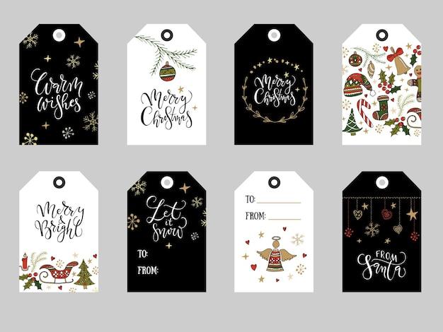 Coleção de etiquetas douradas, vermelhas e pretas, desenhadas à mão, natal, fofos, readytouse, hand merry christma