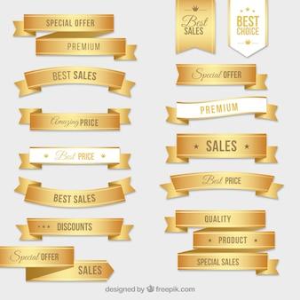 Coleção de etiquetas douradas
