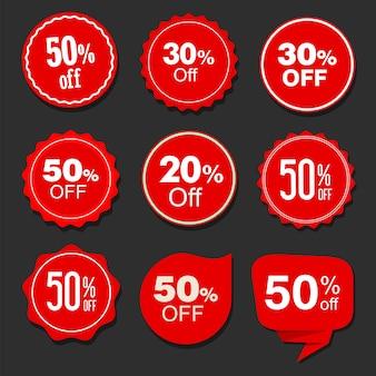 Coleção de etiquetas e adesivos vermelhos de venda