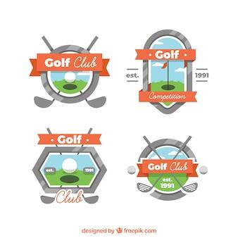 Coleção de etiquetas e badges de golfe em estilo plano