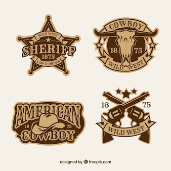 Coleção de etiquetas e emblemas cowboy