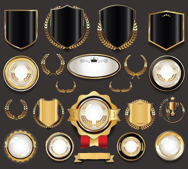 Coleção de etiquetas e escudos retrô vintage dourados