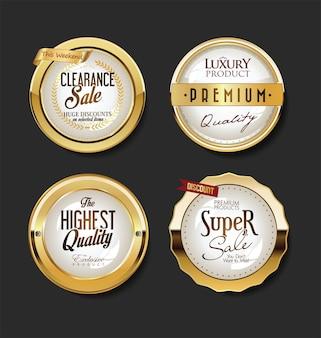 Coleção de etiquetas e etiquetas de emblemas dourados