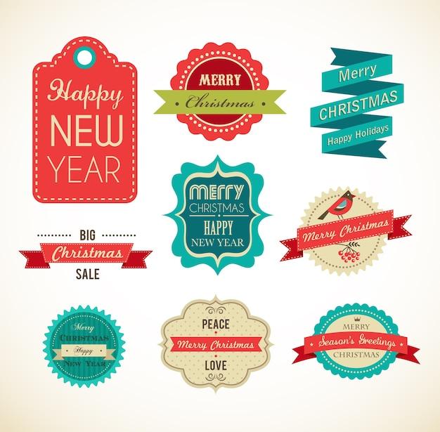 Coleção de etiquetas e etiquetas de feliz natal e feliz ano novo