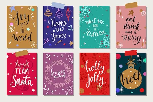 Coleção de etiquetas e etiquetas de natal e ano novo.