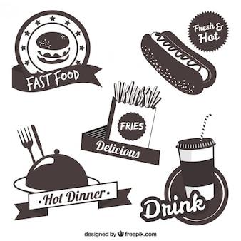 Coleção de etiquetas fast food
