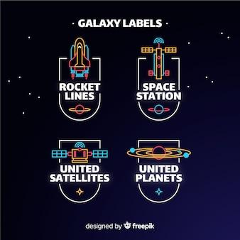 Coleção de etiquetas galáxia
