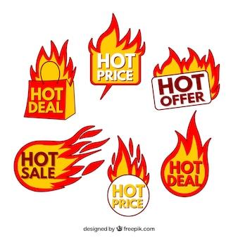 Coleção de etiquetas / gravuras de fogo de venda