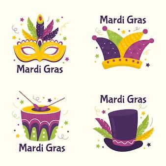 Coleção de etiquetas mardi gras de penas e trajes