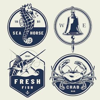 Coleção de etiquetas náuticas vintage