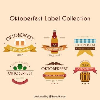 Coleção de etiquetas oktoberfest com fitas
