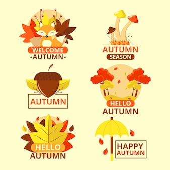 Coleção de etiquetas outono