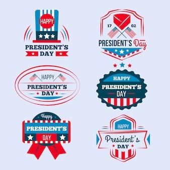 Coleção de etiquetas para o dia dos presidentes