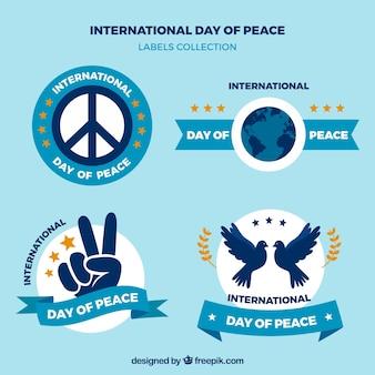 Coleção de etiquetas para o dia internacional da paz