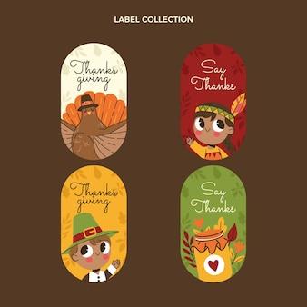 Coleção de etiquetas planas de ação de graças desenhada à mão