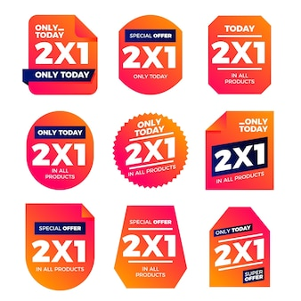 Coleção de etiquetas promocionais com ofertas especiais