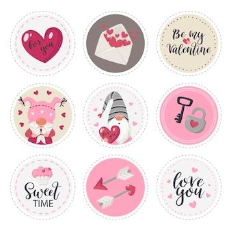 Coleção de etiquetas redondas com ilustração de itens do dia dos namorados
