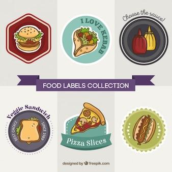 Coleção de etiquetas restaurante