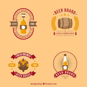 Coleção de etiquetas retro da cerveja