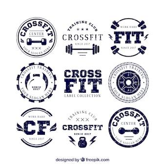 Coleção de etiquetas retros do crossfit