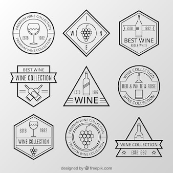 Coleção de etiquetas retros do vinho